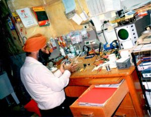 Pic of Harbhajan working on machine at Acetronic
